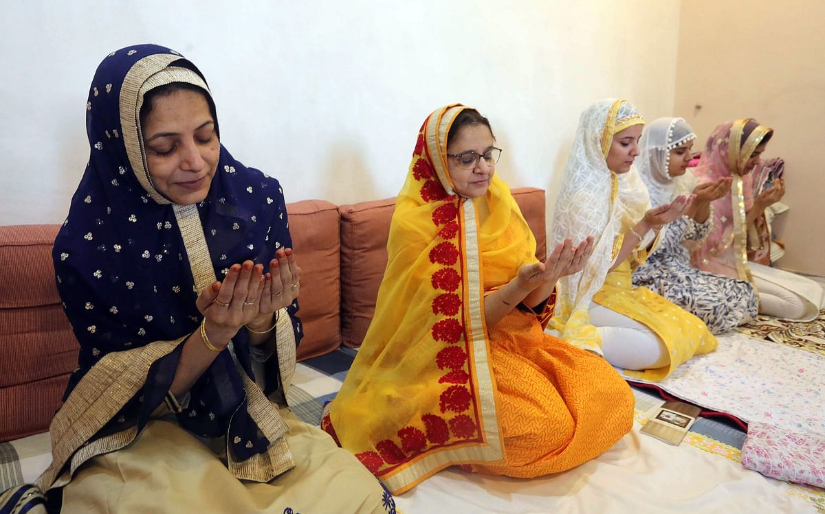 Devotees of Dawoodi Bohra Community offer Namaz at their homes on the occasion of Eid-ul-Fitr festival during lockdown imposed to curb the spread of COVID-19, in Bhopal.