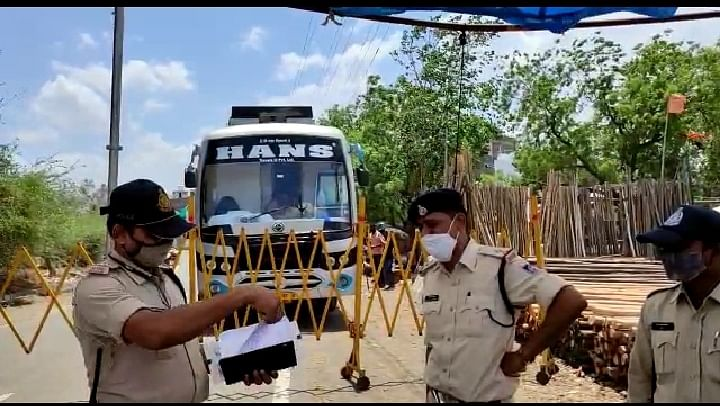 Police personnels seized bus entering from Maharashtra on Thursday