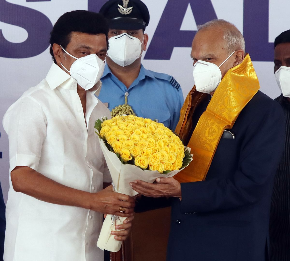 DMK Chief MK Stalin felicitates Governor Banwarilal Purohit during his oath ceremony as the Chief Minister of Tamil Nadu, at Raj Bhavan in Chennai on Friday.