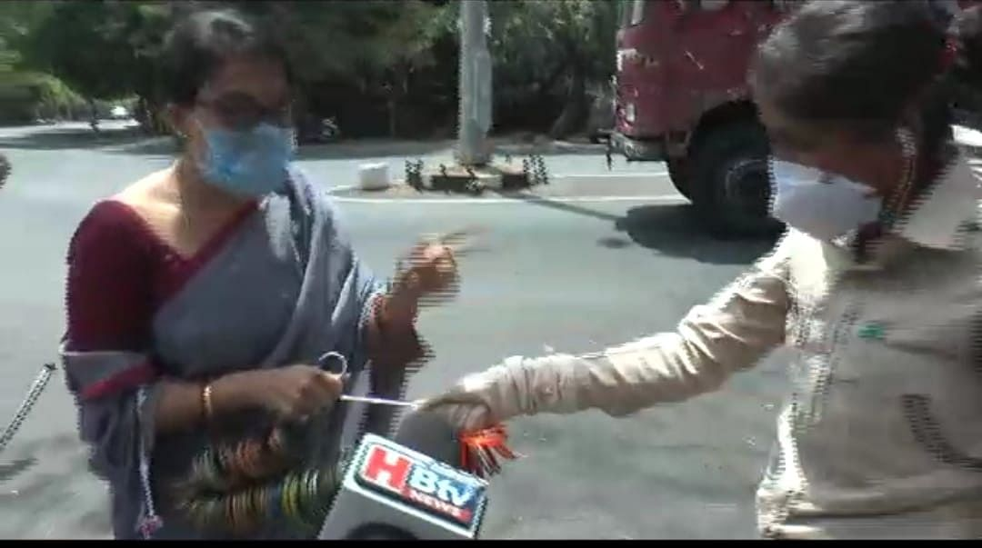 Vijeta Tripathi being detained by security personnel on Tuesday