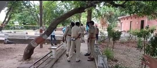 A team of police from Naugaon police station at crime scene.