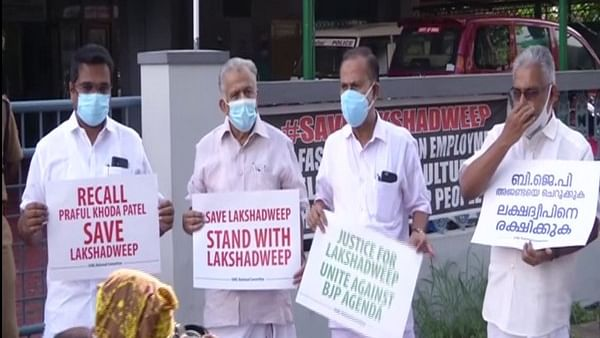 IUML protests outside Lakshadweep Administration Office against new regulations