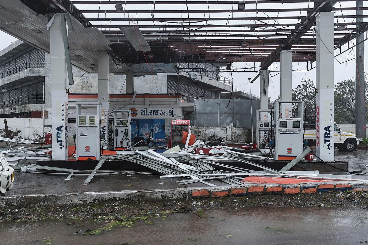 A damaged petrol pump is seen in Mahua on May 18, 2021, after Cyclone Tauktae hit the west coast of India with powerful winds and driving rain, leaving at least 20 people dead.