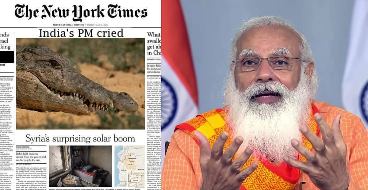 Fact Check: No, NYT did not publish crocodile photo with headline 'India's PM cried'