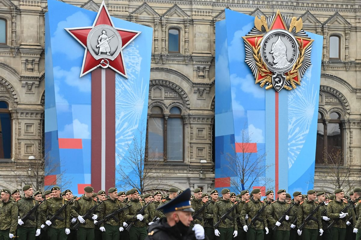 Russian servicemen gather on Red Square before the Victory Day military parade in Moscow on May 9, 2021.