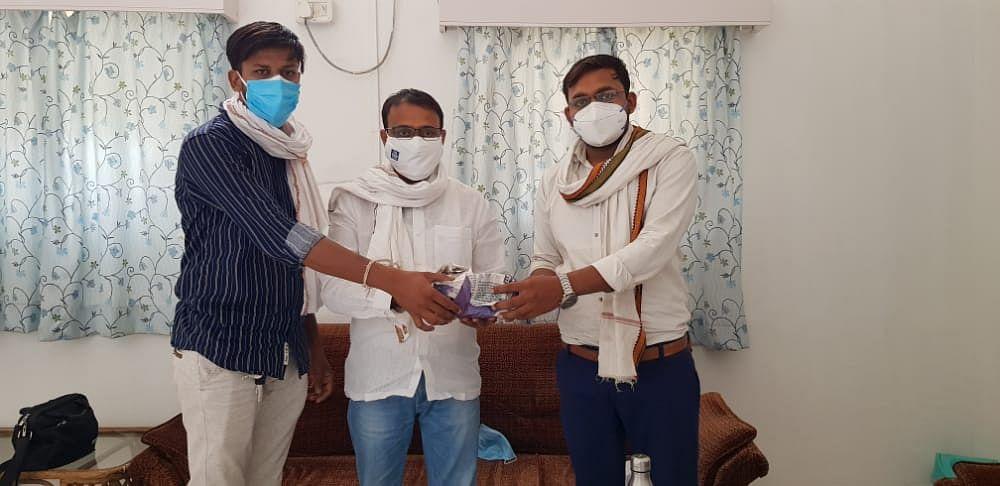 Vijay Choudhary, Vishnu Patel with MLA Sachin Birla