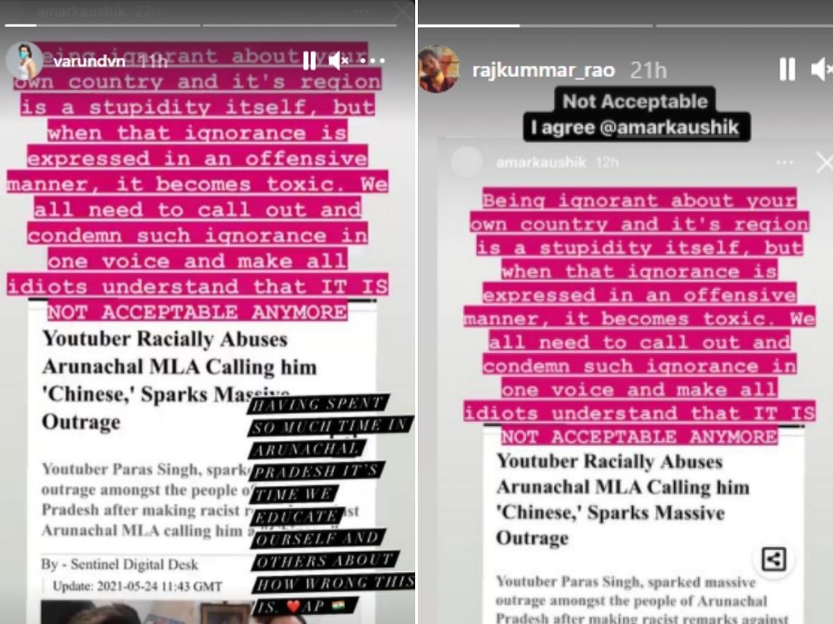Varun Dhawan, Kriti Sanon, Rajkummar Rao slam YouTuber for racist remarks against Arunachal Pradesh MLA
