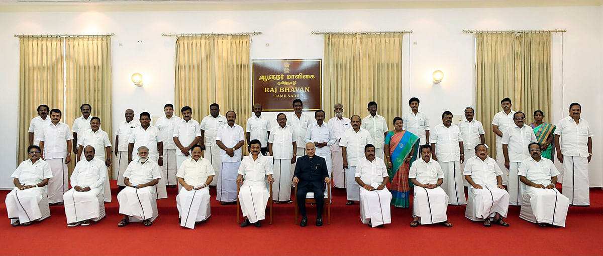 Newly-elected Tamil Nadu Chief Minister MK Stalin and his Cabinet Ministers in a group photo, at Raj Bhavan in Chennai on Friday. Governor Banwarilal Purohit also seen.