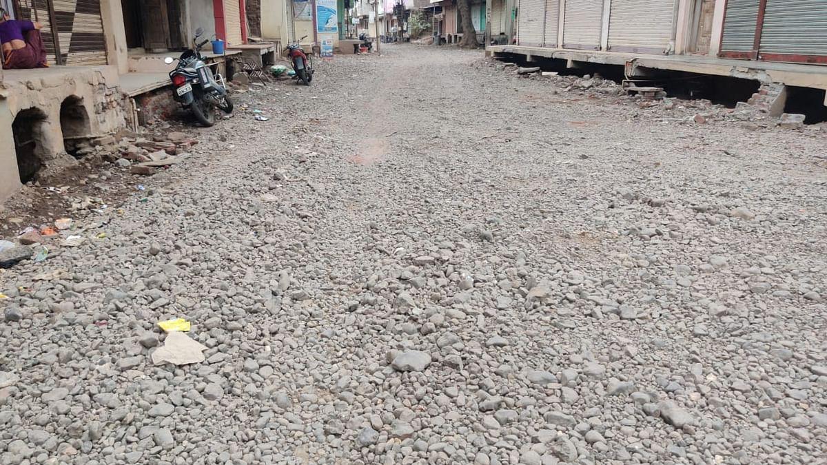 Dug up road in Khetia