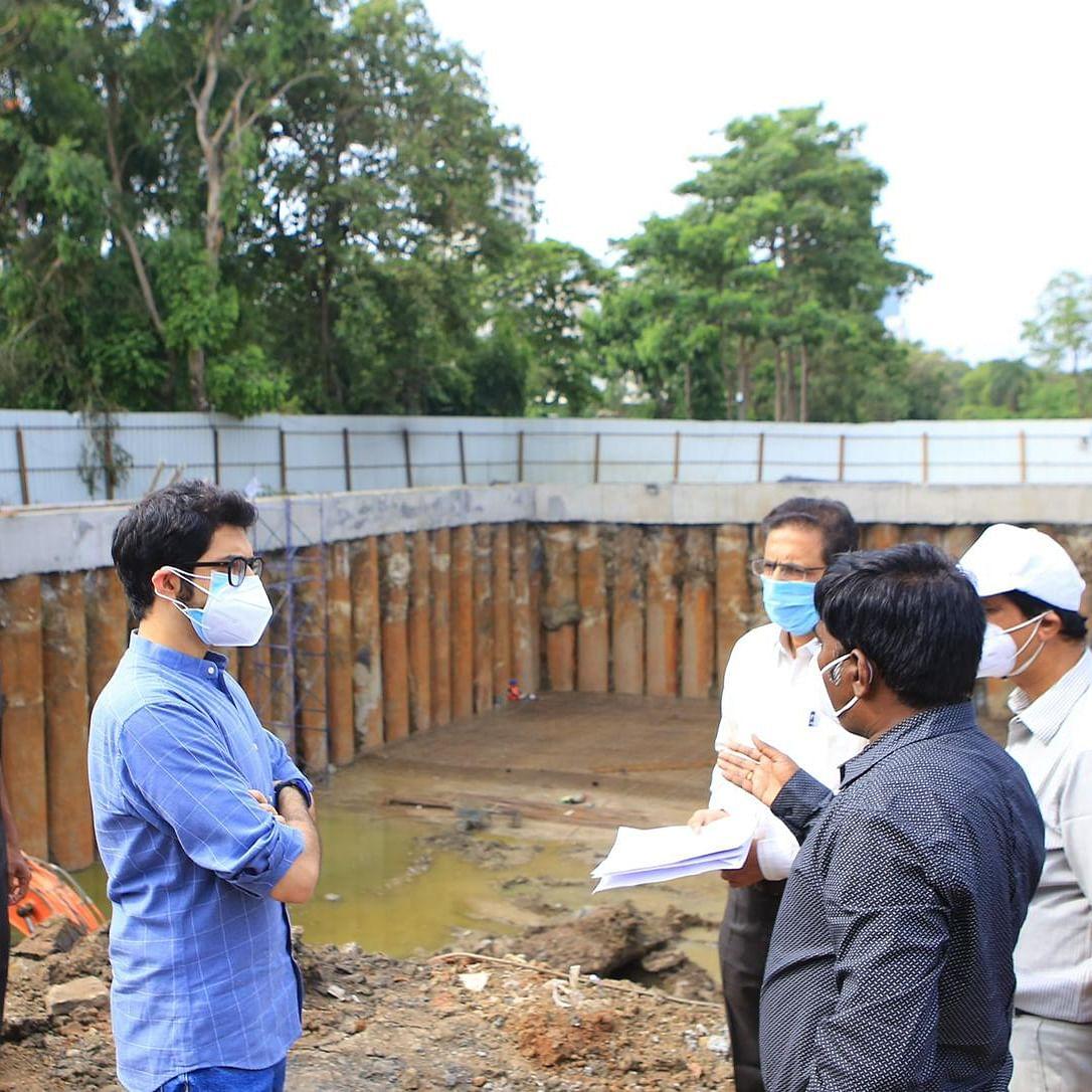 Mumbai: Aaditya Thackeray reviews ongoing works of 'monsoon holding tanks' in city