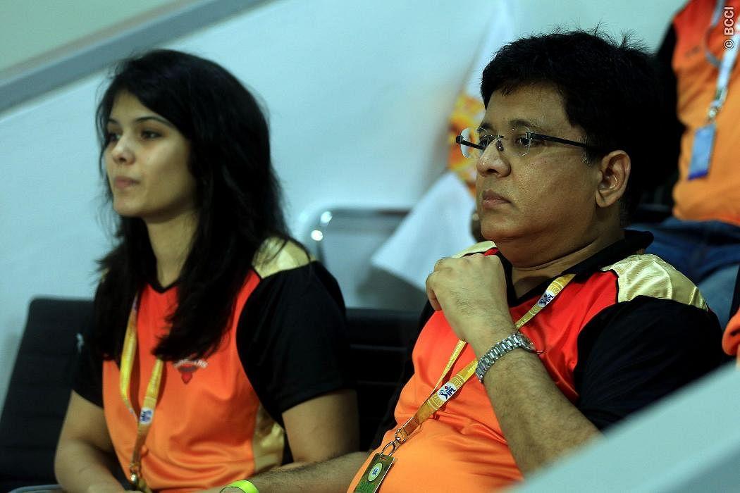 Kalamithi Maran (R) owner of Sun Risers Hyderabad along with his daughter Kaviya