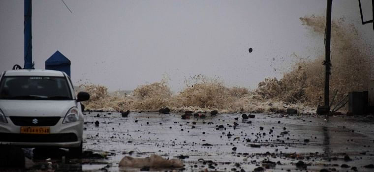 A view of the turbulent sea with strong winds on Digha Sea Beach ahead of cyclone Yaas, in East Medinipur on Wednesday