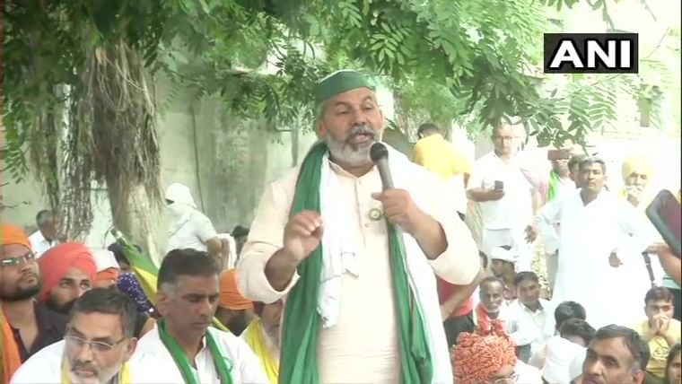 'Protest will continue until they are released': BKU leader Rakesh Tikait leads sit-in at Haryana police station for release of arrested farmers