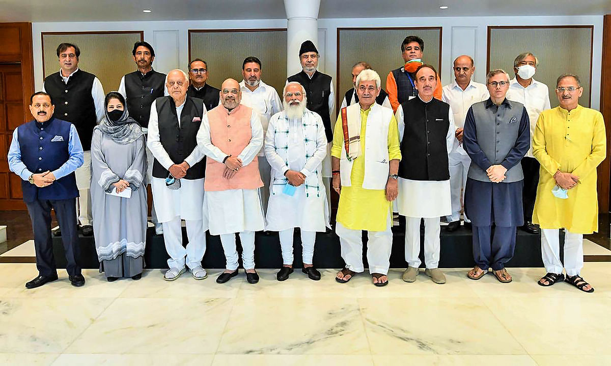 New Delhi: Prime Minister Narendra Modi during an all-party meeting with various political leaders from Jammu and Kashmir, in Delhi.