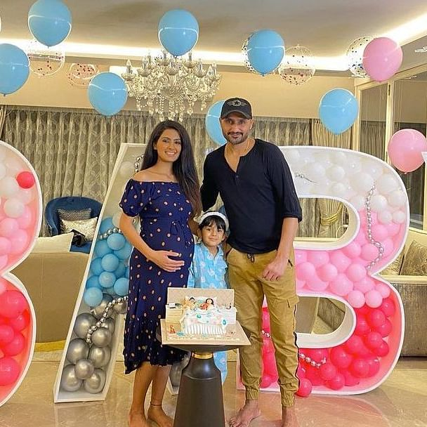 Photos: Geeta Basra gets a surprise baby shower; special cake featuring Harbhajan Singh in bed is unmissable