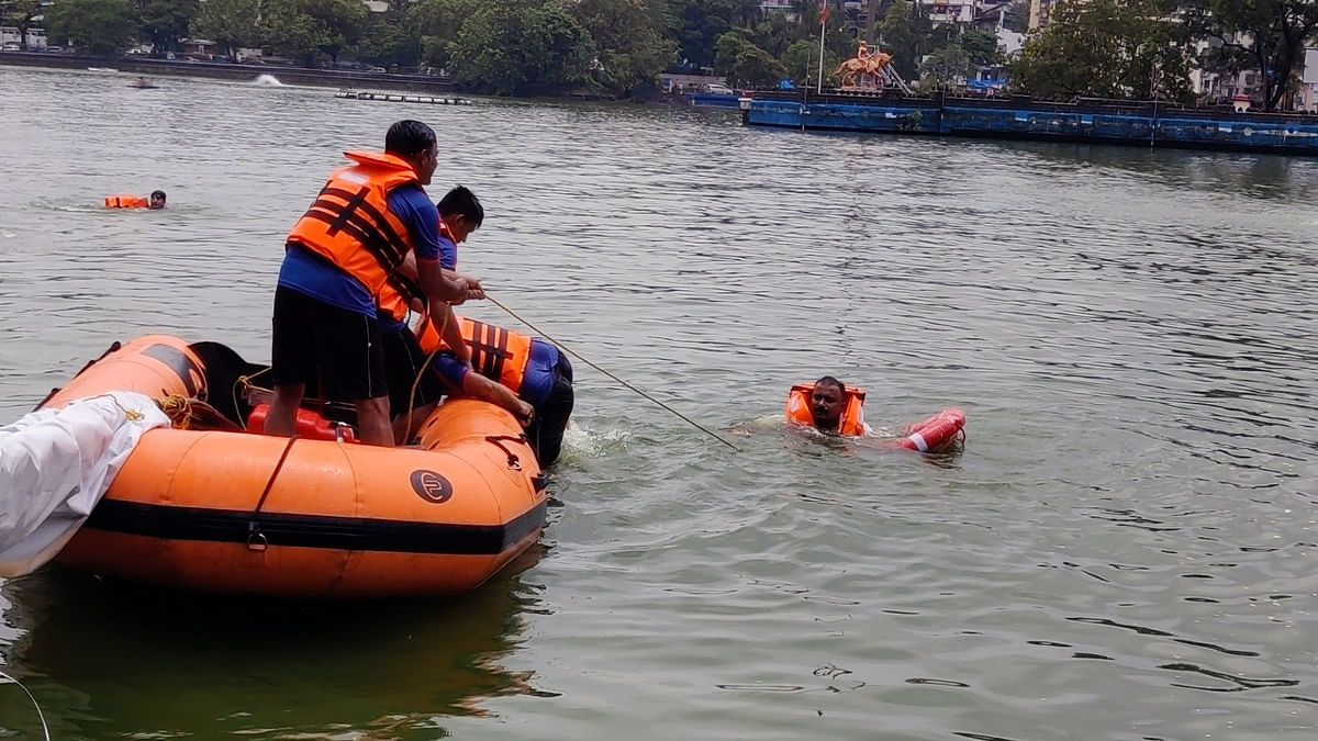 Railway Flood Relief team conducted mock drill in rescue & relief of passengers held in trains during monsoon, in Mumbai on Tuesday.