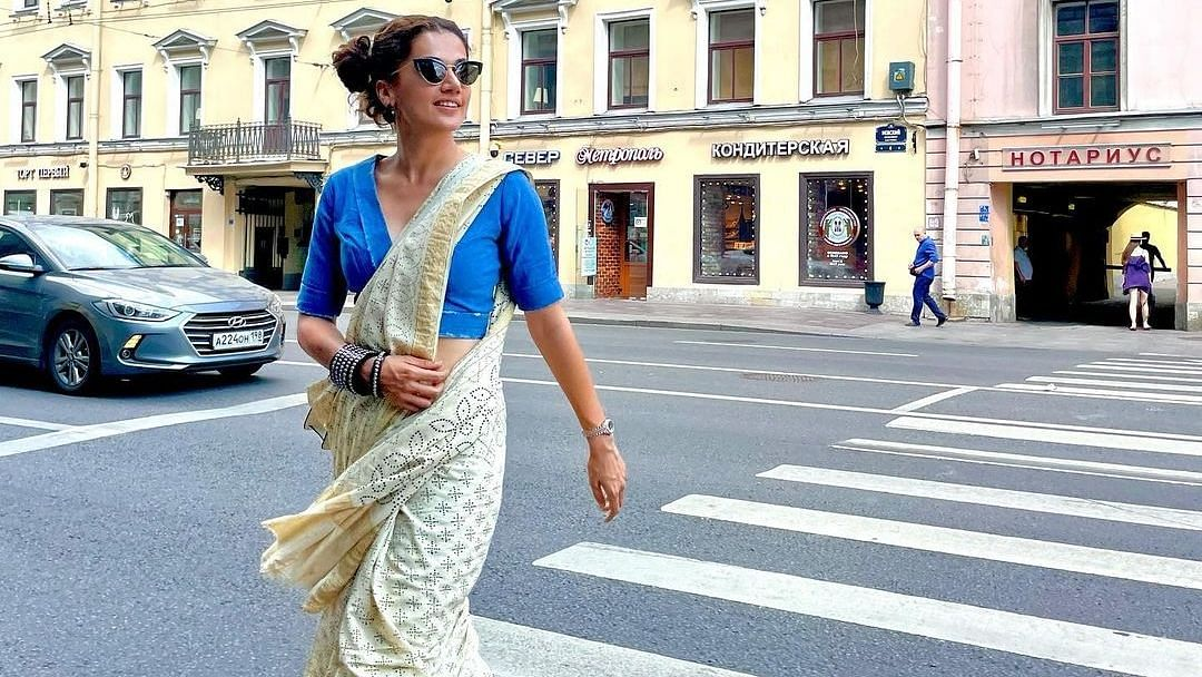 Only Taapsee Pannu can pull off a saree with sneakers on the streets of Russia