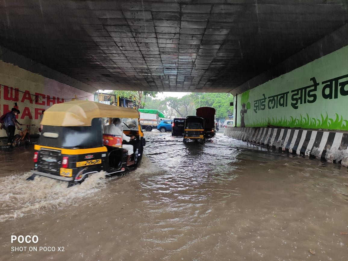 Water-logging witnessed on the Western Express Highway near Dahisar, Mumbai on Tuesday as rain poured on the city.