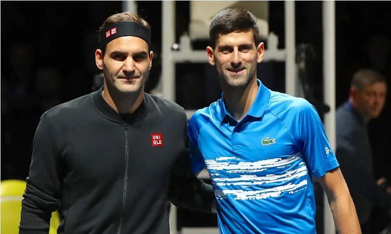 Federer (L) and Djokovic
