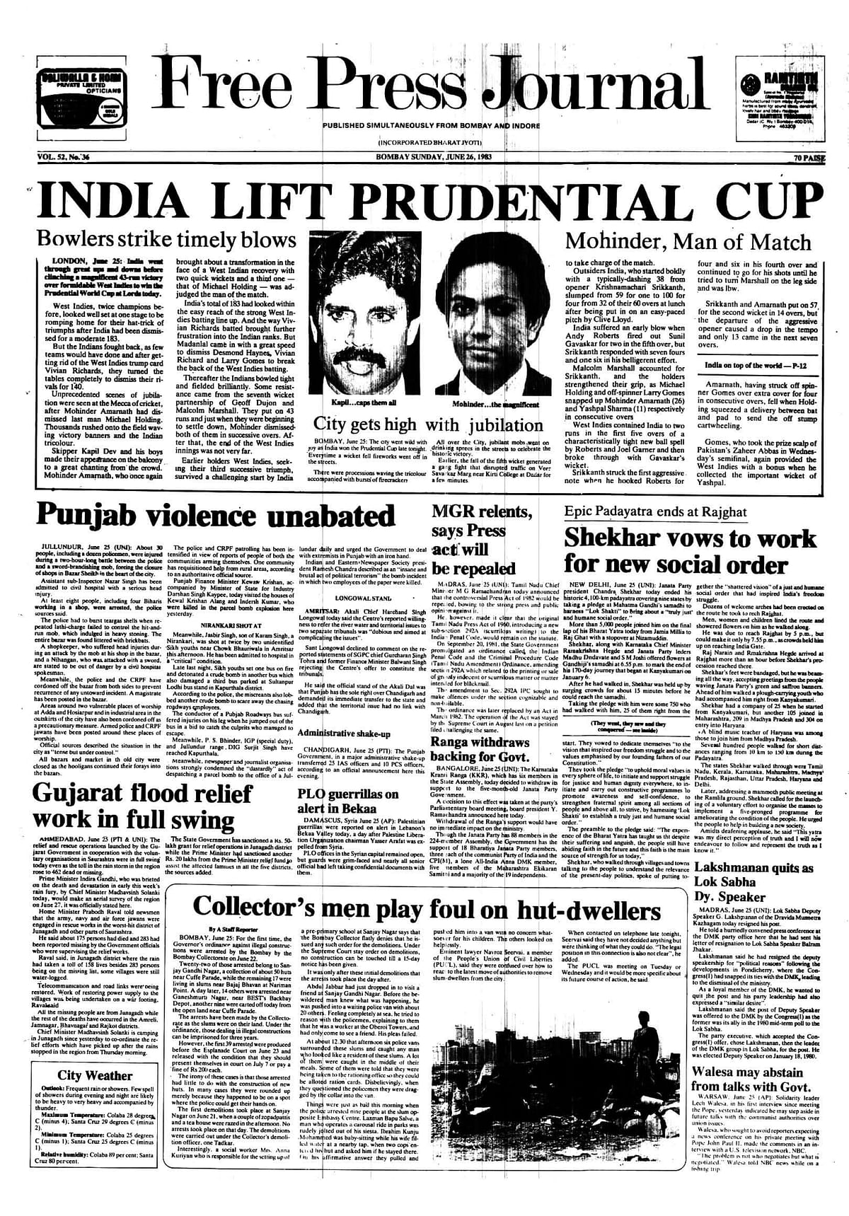 From the FPJ Archives: When India made World Cup history in 1983
