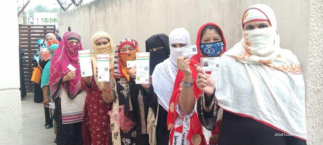 Women outside vaccination centre in Khajrana on Saturday