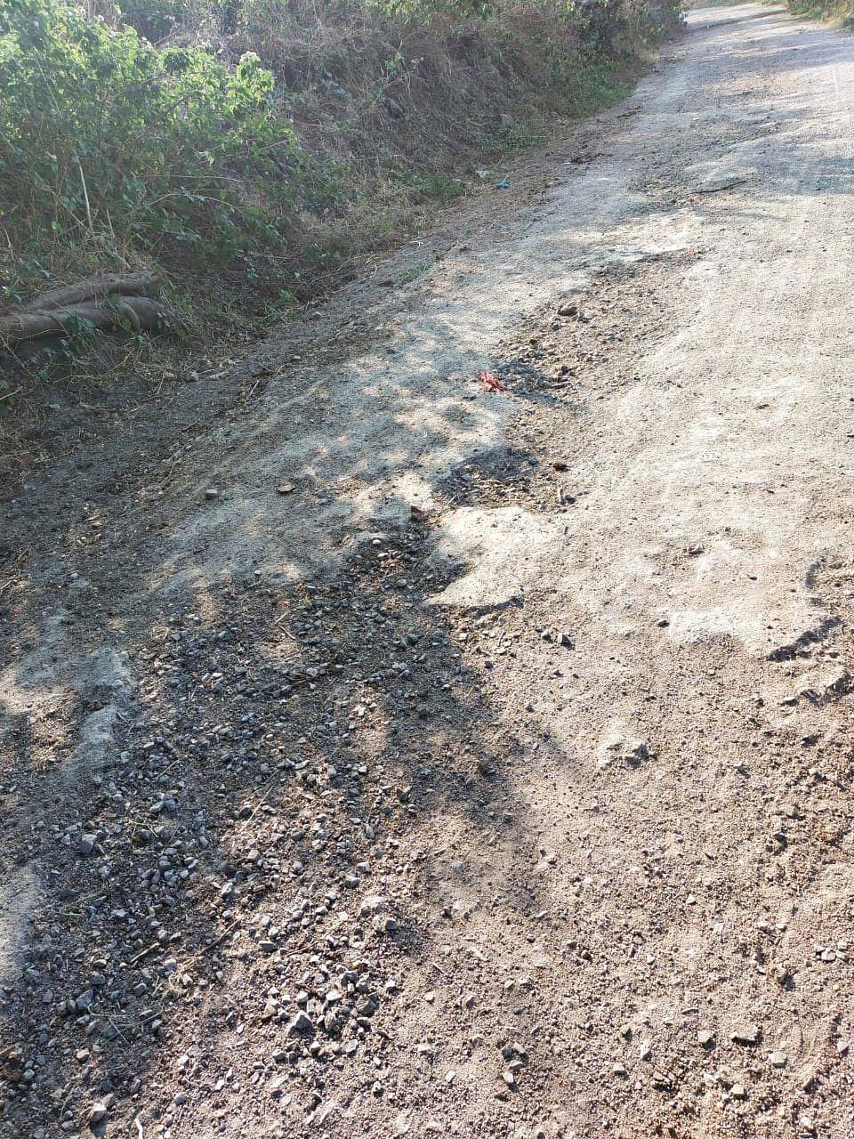 The dilapidated road in Dodiya village