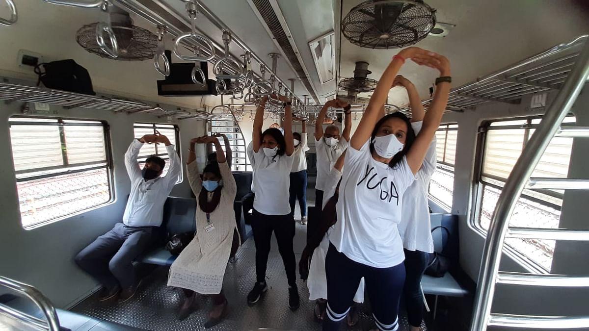Mumbai: International Yoga day celebrated in local train