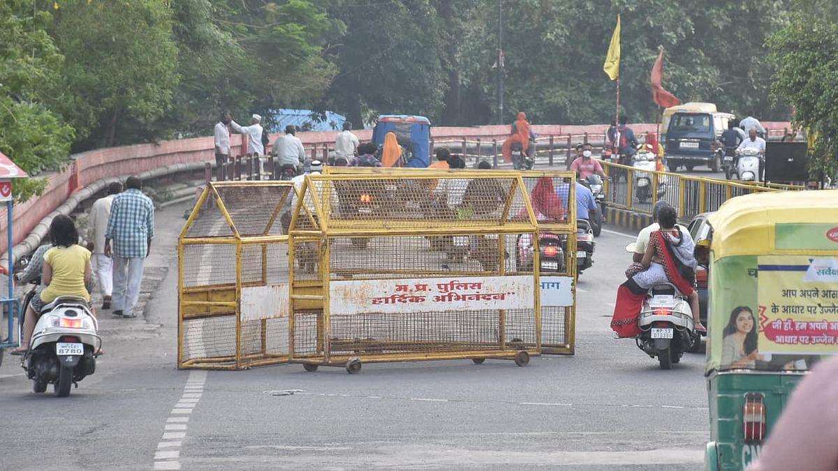 Traffic on Freeganj overbridge during unlock in Ujjain on Tuesday.