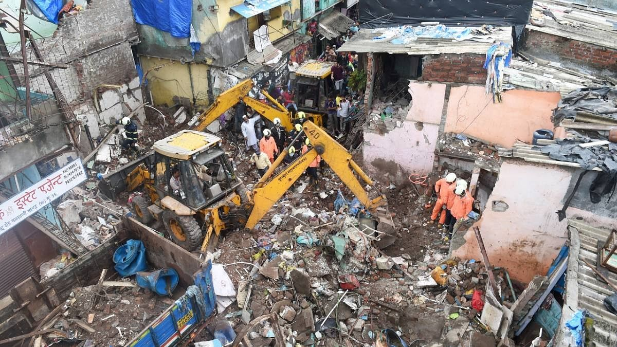 The site of the building collapse at Malad last week
