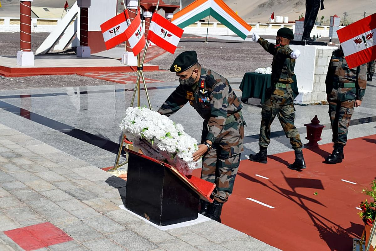 ire and Fury Corps pay floral tribute to the 20 soldiers who died in the Galwan valley clash on the occasion of its first anniversary, in Srinagar on Tuesday.