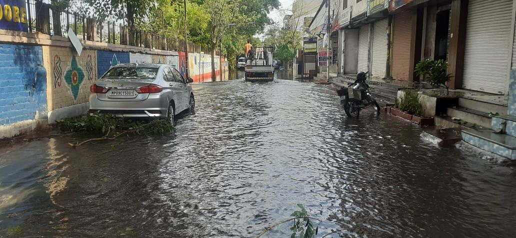 Waterlogging was reported from several areas on the city following the showers.