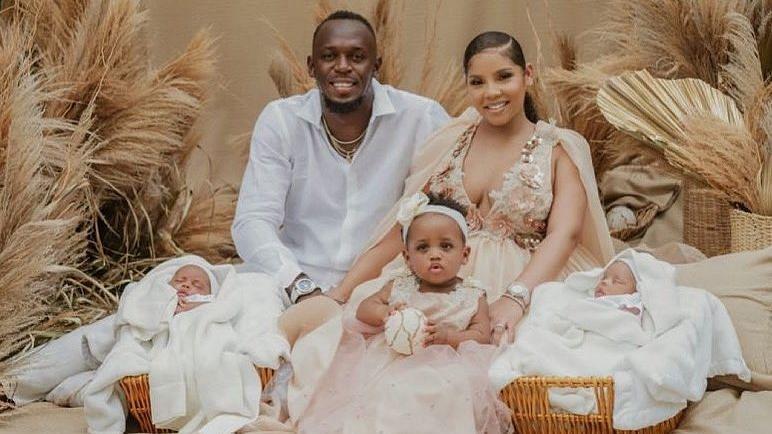 Usain Bolt and his partner Kasi Bennett with their children