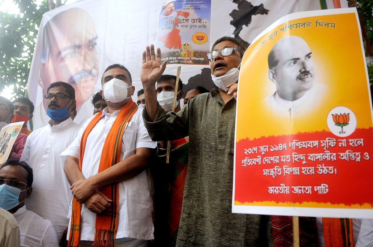 West Bengal, June 20 (ANI): BJP leader Suvendu Adhikari attends the celebration of West Bengal Day in Kolkata on Sunday. (ANI Photo)
