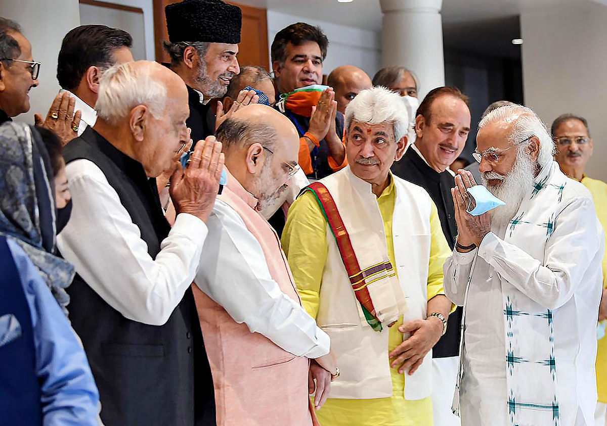 New Delhi: Prime Minister Narendra Modi during an all-party meeting with various political leaders from Jammu and Kashmir, in Delhi, Thursday, June 24, 2021.