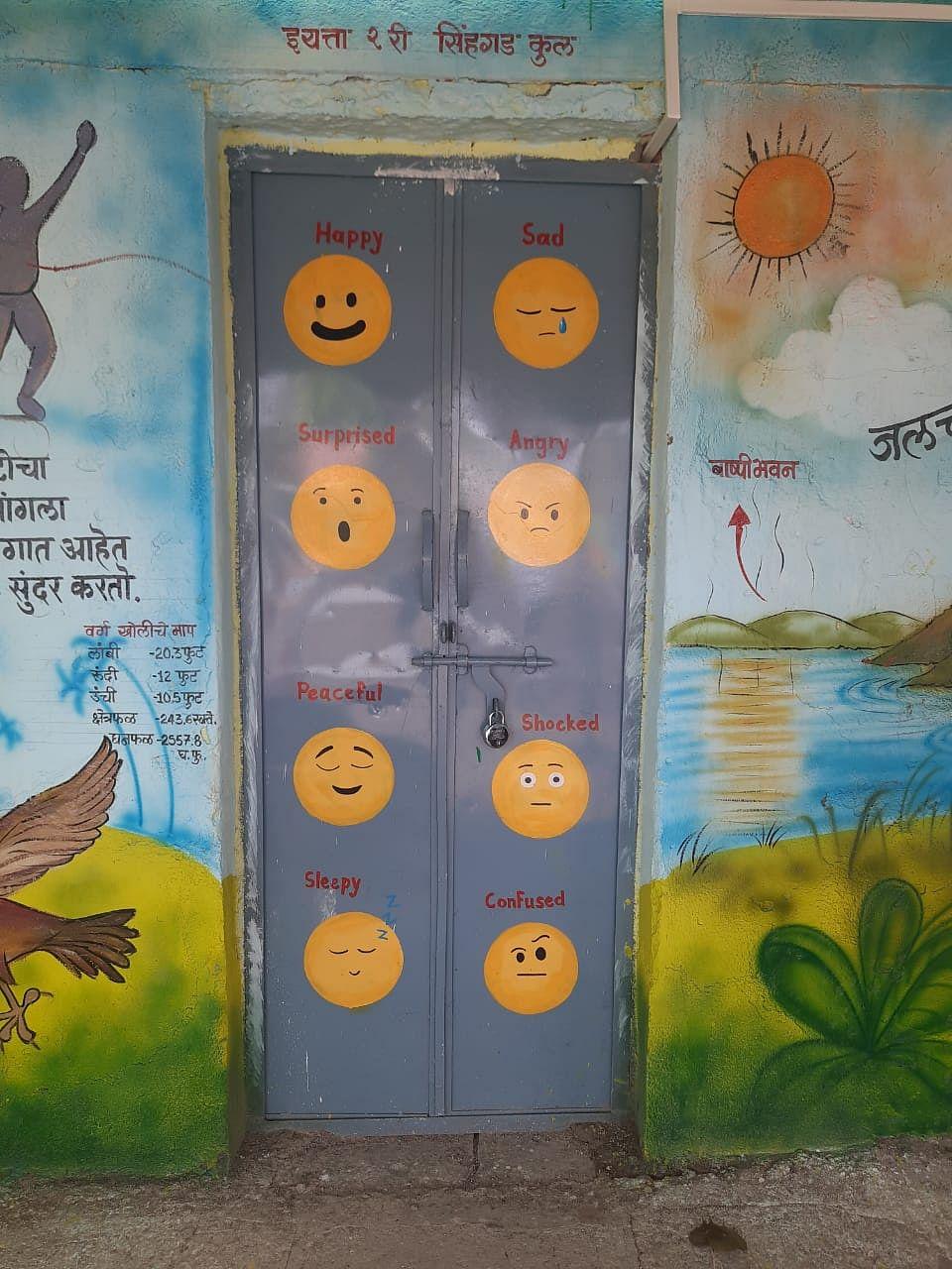 Different moods painted on door