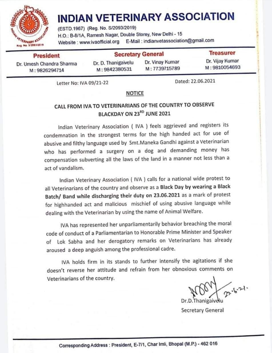 #BoycottManekaGandhi: Indian Veterinary Association protests accusing BJP leader of abusive language against veterinarian
