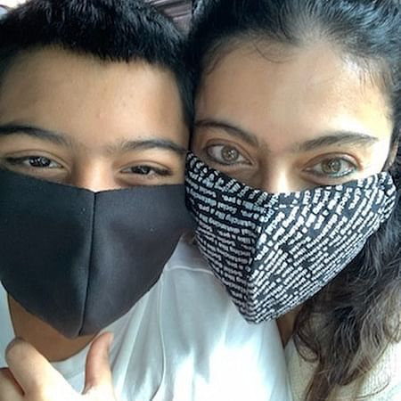 Kajol and son Yug are 'masked bandits' in their latest selfie