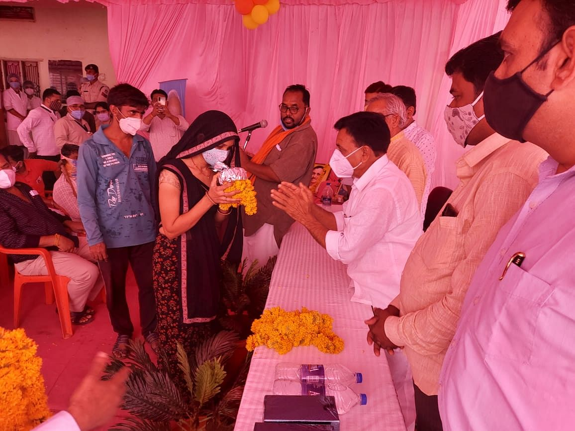 People welcomed at vaccination centre in Borda village