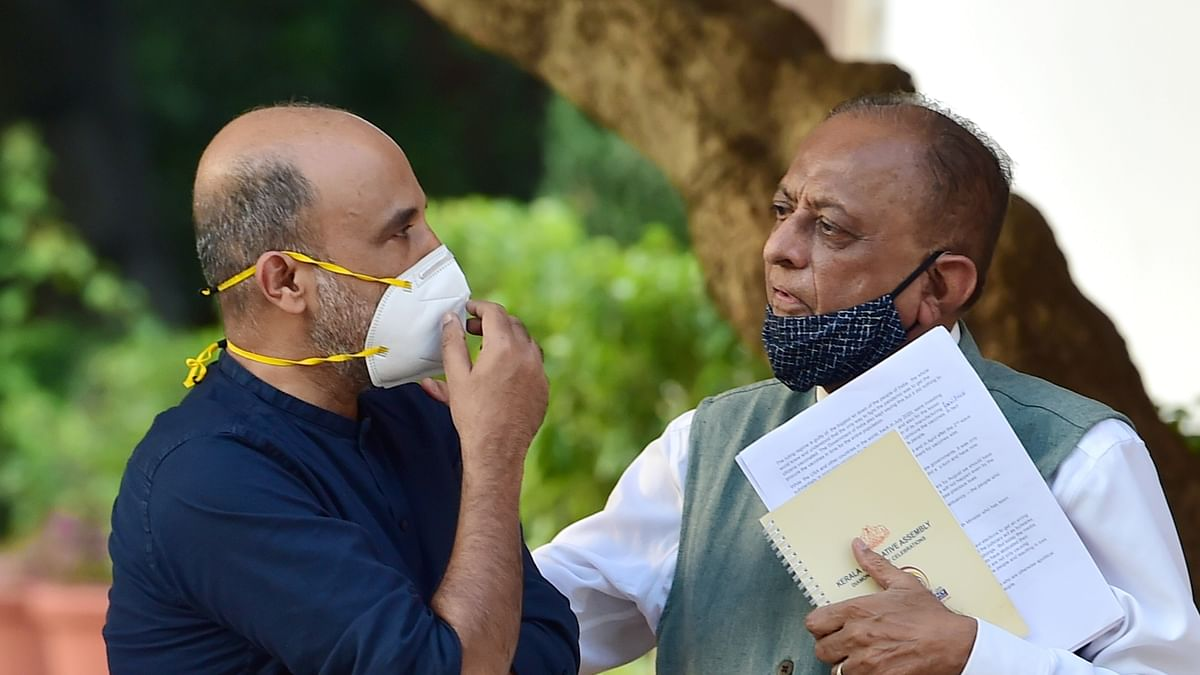 New Delhi: NCP leader Majeed Memon (R) with Sanjay Jha (L), after the meeting of the Rashtra Manch at the residence of Sharad Pawar, in New Delhi, Tuesday, June 22, 2021.
