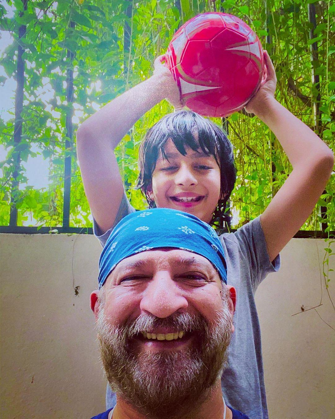 In Pics: Raj Kaushal's doting dad moments with son Vir and daughter Tara