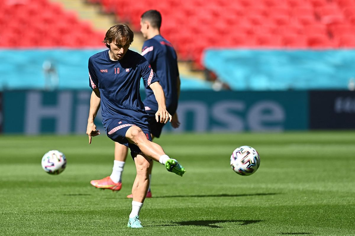 Croatia's midfielder Luka Modric takes part in their training session at Wembley Stadium in London on June Saturday, the eve of their Euro 2020 Group D football match against England.