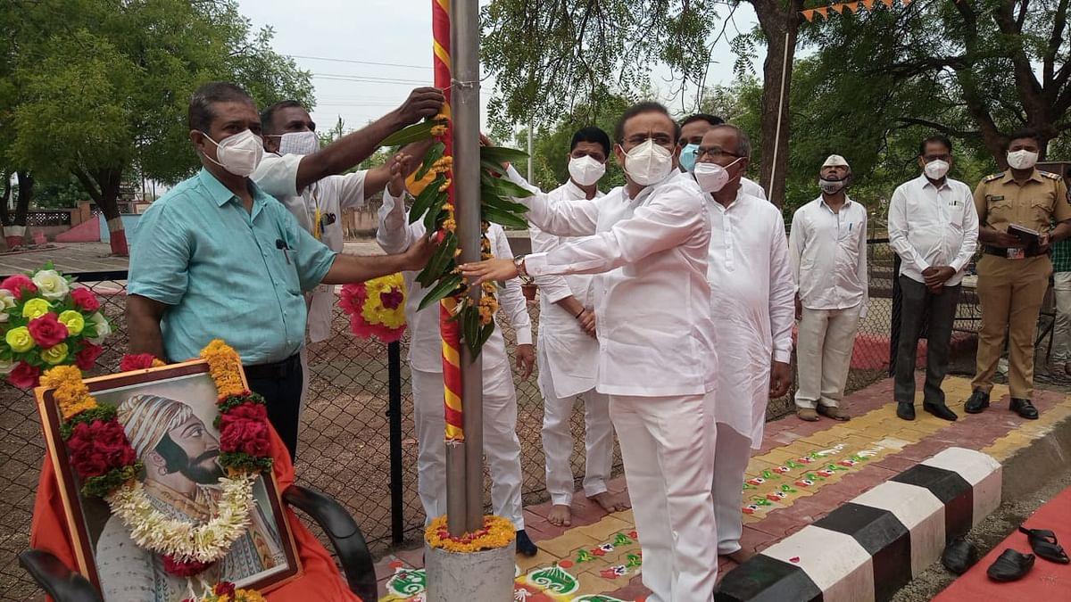 Health Minister of Maharashtra, Rajesh Tope hoisted the Saffron flag and erected the Gudi at the Jalna Zilla Parishad to commemorate the coronation day of the great Maratha warrior king Chhatrapati Shivaji Maharaj on June 6, 2021.