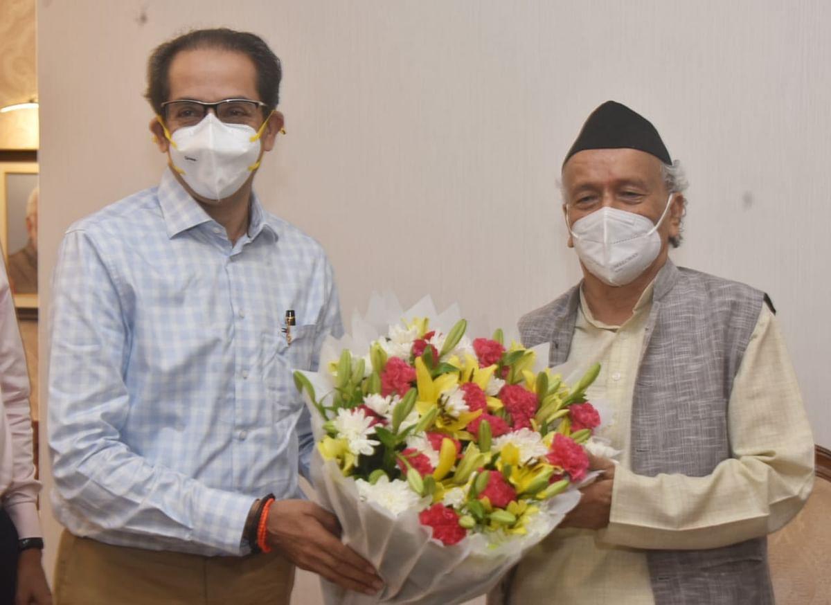 Maharashtra CM Uddhav Thackeray alongside Governor Bhagat Singh Koshyari