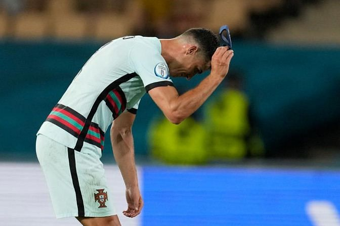 Christiano Ronaldo dejected after the match