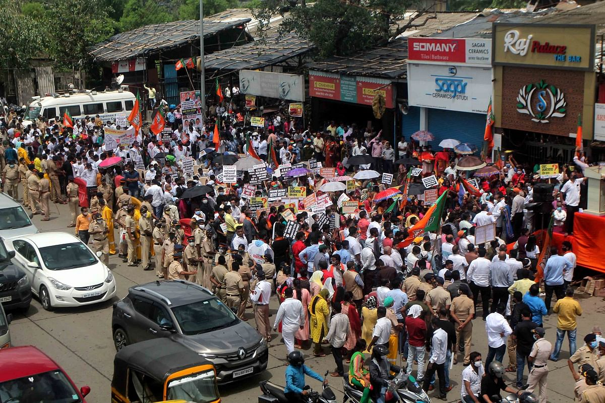BJP stages chakka jam over OBC issue at Dahisar Check Naka in Mumbai.