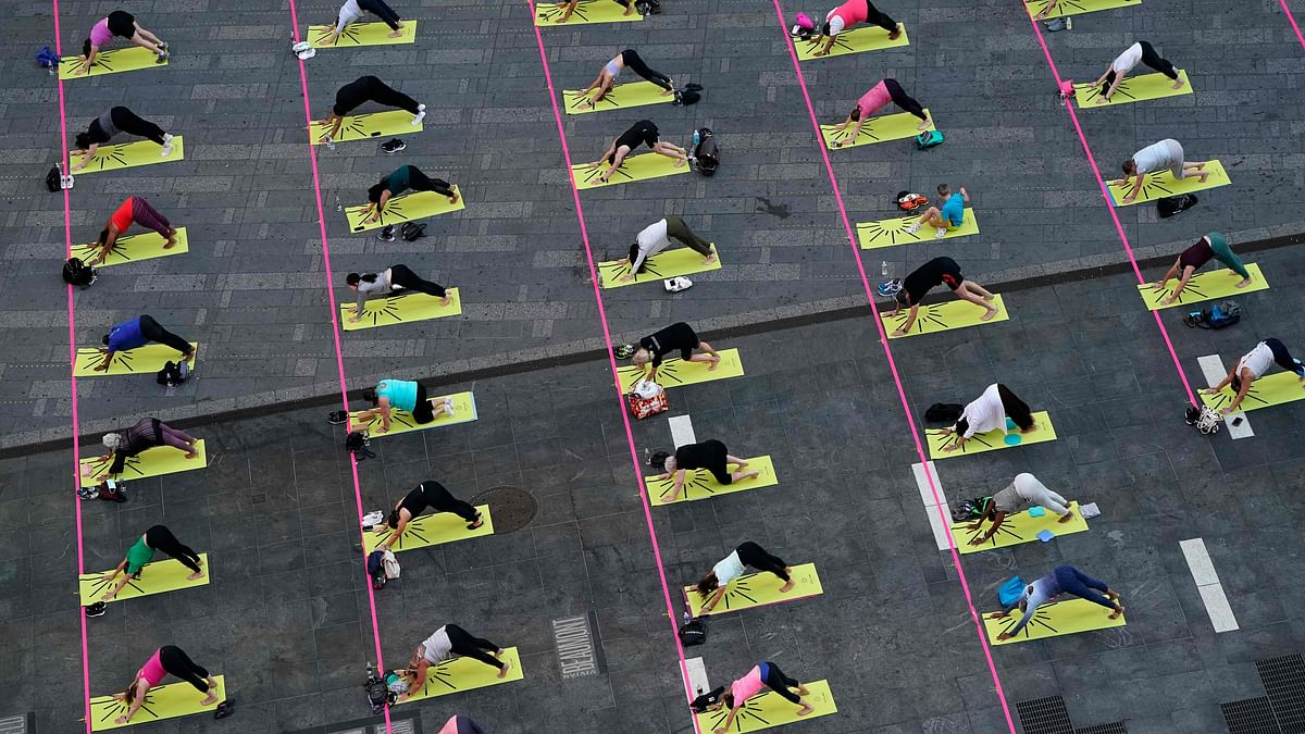 International Yoga Day 2021: Over 3,000 people perform Yoga at iconic Times Square; see pics