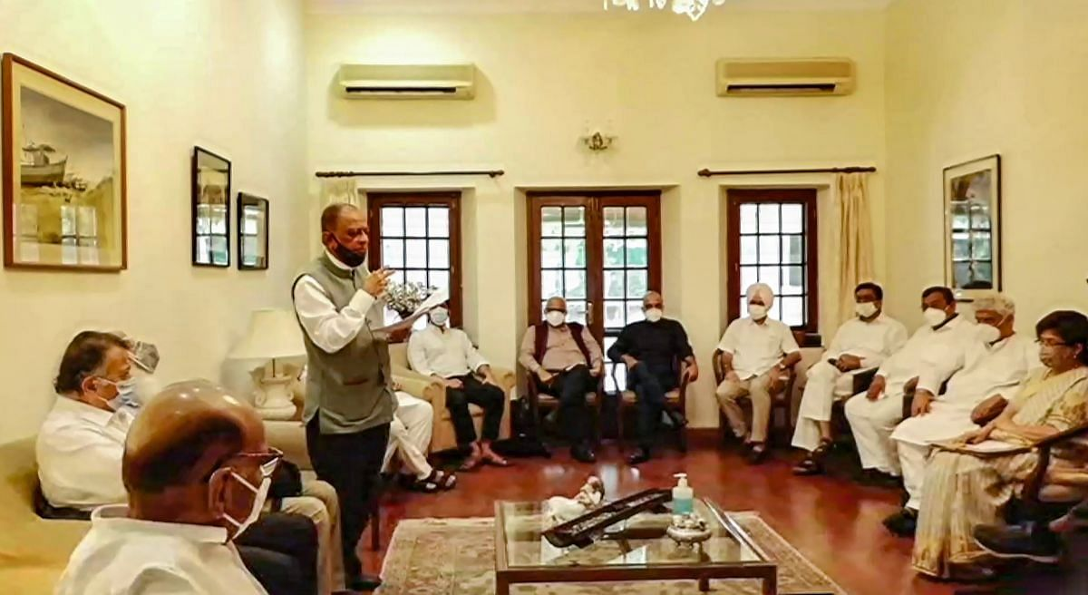 The meeting of the Rashtra Manch at Sharad Pawar's residence in New Delhi, June 22, 2021.