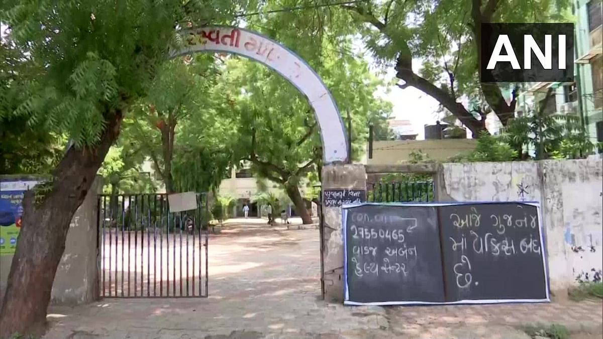 A deserted view of a vaccination centre that closed due to a shortage of COVID-19 vaccines, in Ahmedabad on Wednesday.