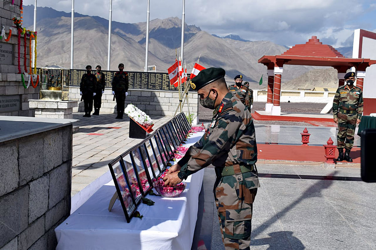 Fire and Fury Corps pay floral tribute to the 20 soldiers who died in the Galwan valley clash on the occasion of its first anniversary, in Srinagar on Tuesday.