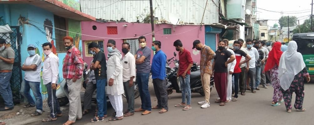 View of vaccination centre in Musakhedi, Azad Nagar on Saturday